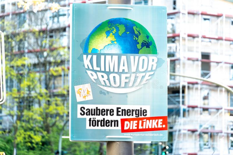 Election campaign poster of Die Linke, German political party stock image