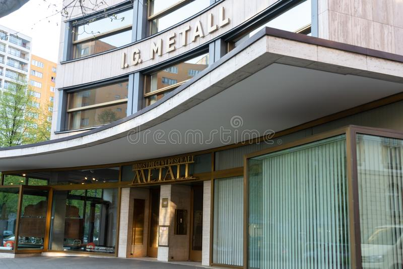 IG Metall. Berlin, Germany - April 19, 2019: Headquarters of IG Metall German: Industriegewerkschaft Metall, Industrial Union of Metalworkers`, dominant royalty free stock photos