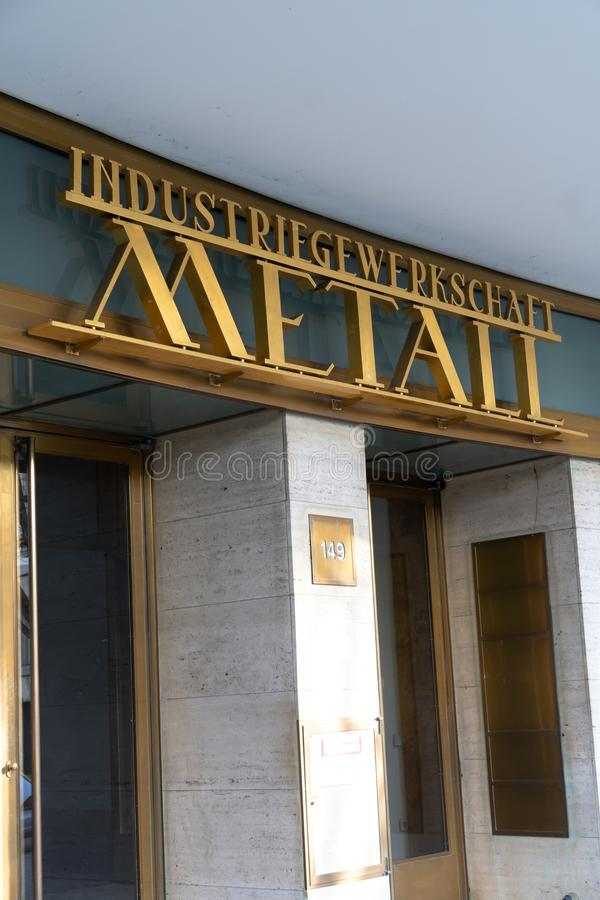 IG Metall. Berlin, Germany - April 19, 2019: Headquarters of IG Metall German: Industriegewerkschaft Metall, Industrial Union of Metalworkers`, dominant royalty free stock images