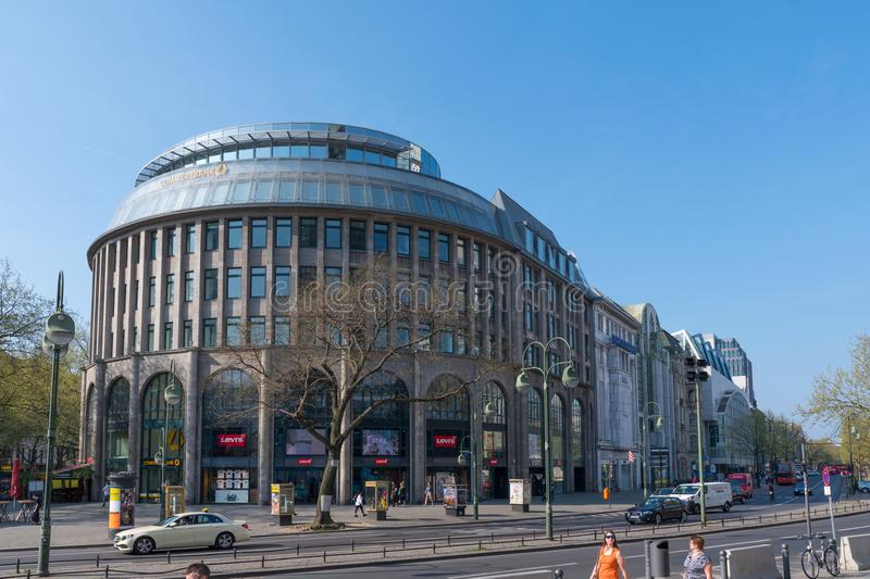 Shopping mall and Office building in city of Berlin stock images