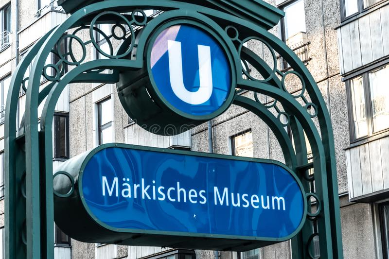 Märkisches Museum U-Bahn station, Berlin, Germany. Berlin, Germany - April 19, 2019: Signage of the Maerkisches Museum U-Bahn station located on the U2 royalty free stock image