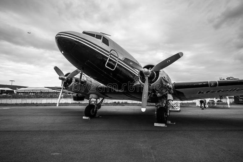 Soviet cargo or passenger aircraft and light bomber Lisunov Li-2. stock photography