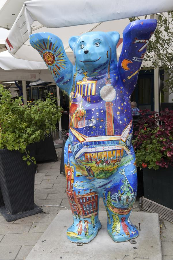 Berlin, Germany - August 24, 2018: Bear sculpture decorated with colorful berlin motives. The Bear is the symbol of Berlin, and t royalty free stock image