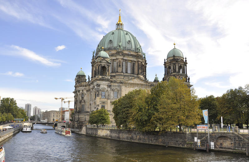 Berlin,Germany-august 27:Cathedral Dome on the Bank of river Spree from Berlin in Germany stock images