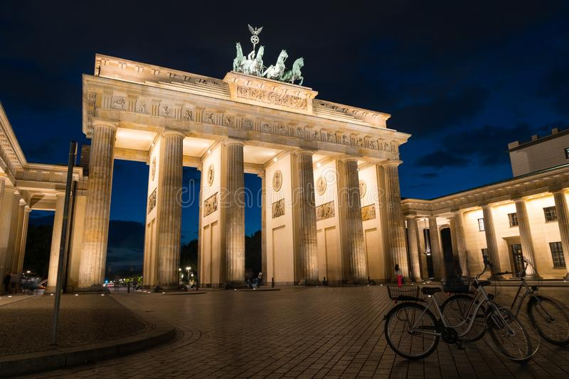 Berlin, germany - august 28, 2017; Historic Brandenburg Gate tou royalty free stock images