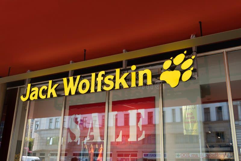 Jack Wolfskin shop sign stock image