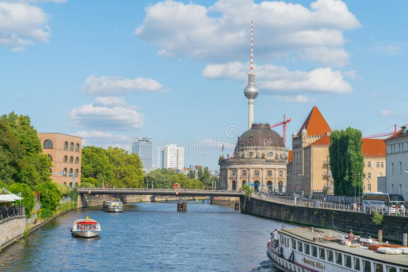Tourists on river cruises though Berlin on River Spree. stock image