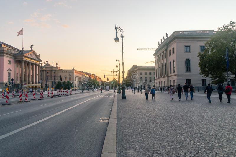 View of Unter den Linden street at sunset. stock images