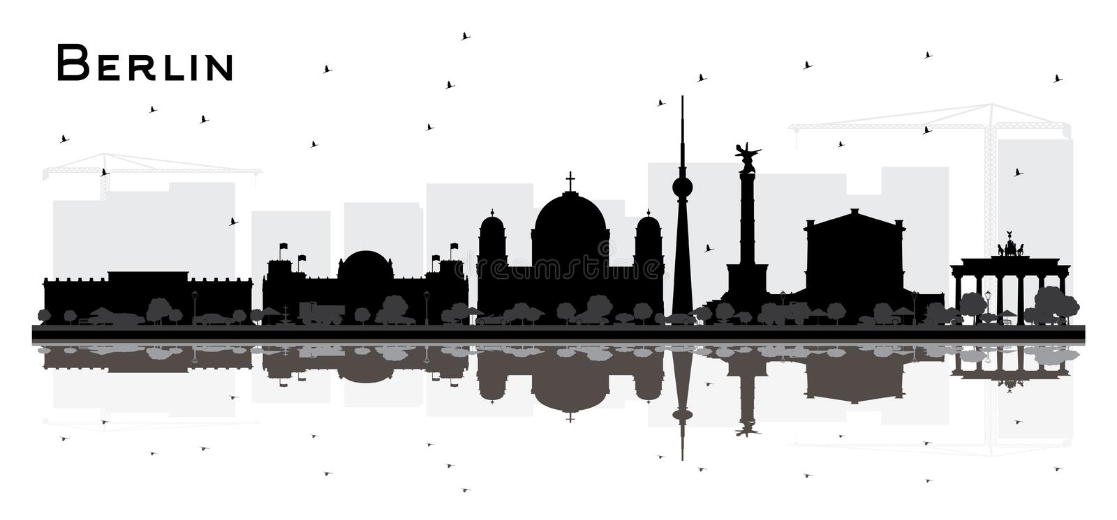 Berlin Germany City Skyline Silhouette with Black Buildings Isolated on White. Vector Illustration. Business Travel and Tourism Concept with Historic royalty free illustration