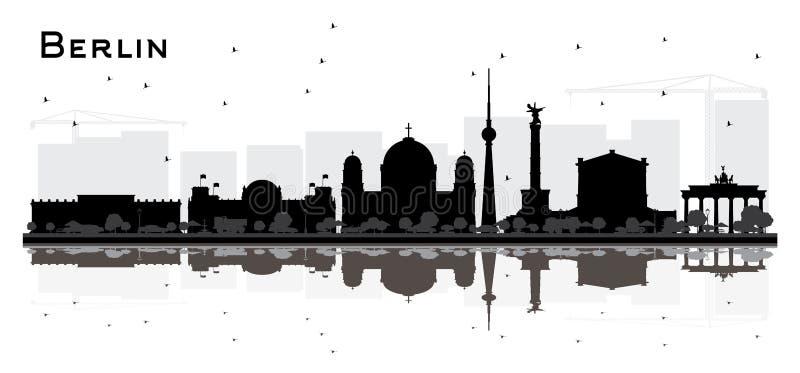 Berlin Germany City Skyline Silhouette com o isolador preto das construções ilustração royalty free