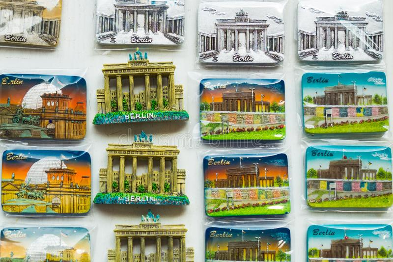 BERLIN, GERMANY: Colorful magnets. A stall selling traditional german souvenir in Berlin. BERLIN, GERMANY: A stall selling traditional german souvenir in Berlin stock photo