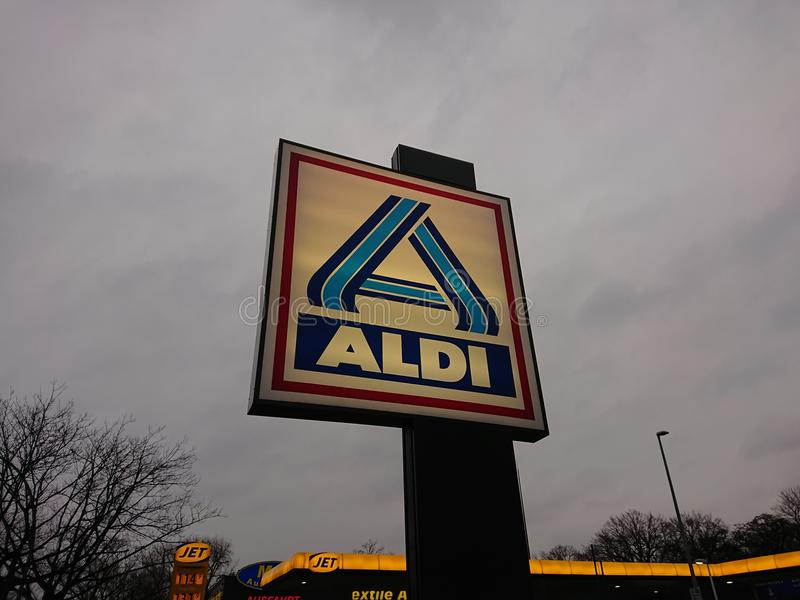 Aldi discount supermarket emblem royalty free stock photos