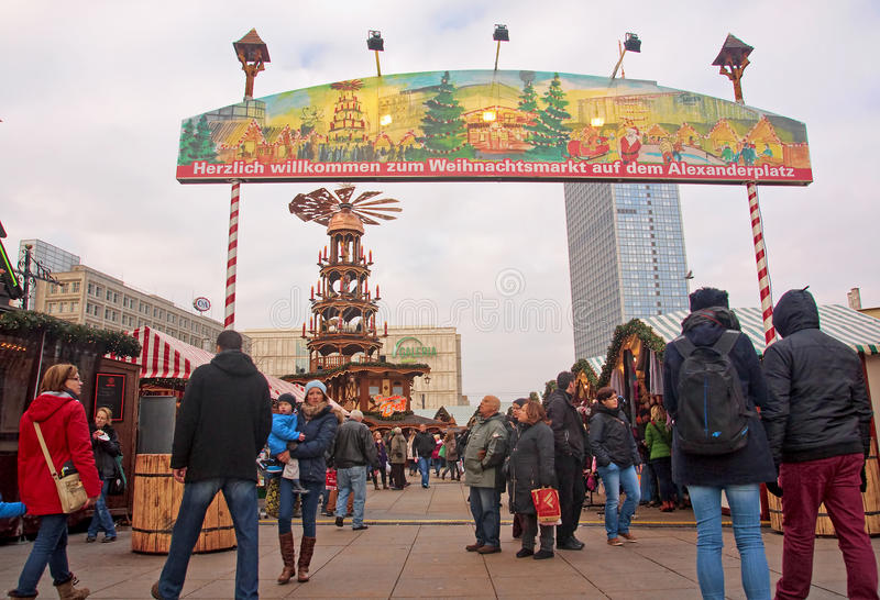 BERLIN, GERMANY - DECEMBER 7, 2014: Alexanderplatz is visited daily by over 300 000 people. on 7 December 2014 in Berlin royalty free stock photo