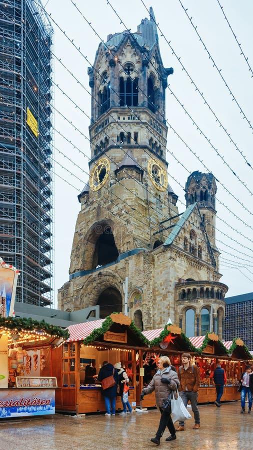 Christmas Market near Kaiser Wilhelm Memorial Church in Winter Berlin stock images