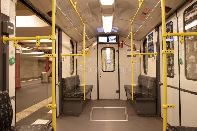Empty BVG subway train U-Bahn / metro train in Berlin, Germany stock photos