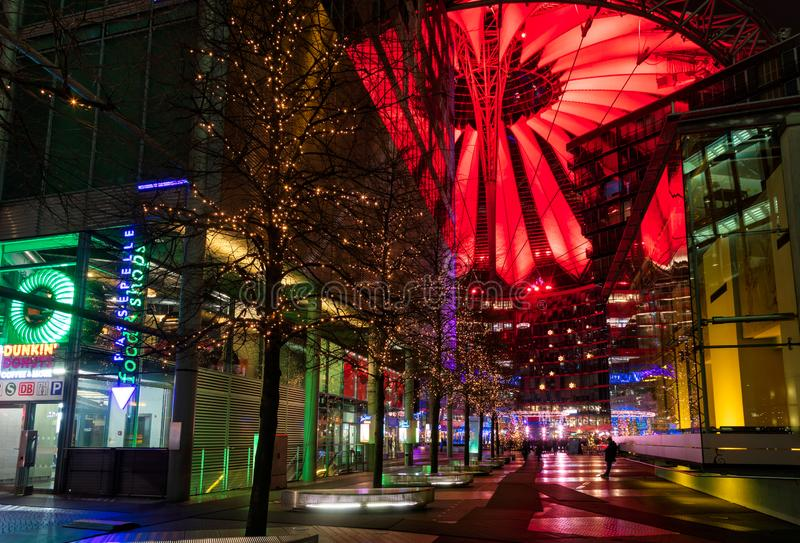Christmas street light decoration Sony Center Potsdamer Platz Berlin Germany. Berlin, Germany - December 16, 2018: Illuminated roof and Christmas decoration of royalty free stock photos