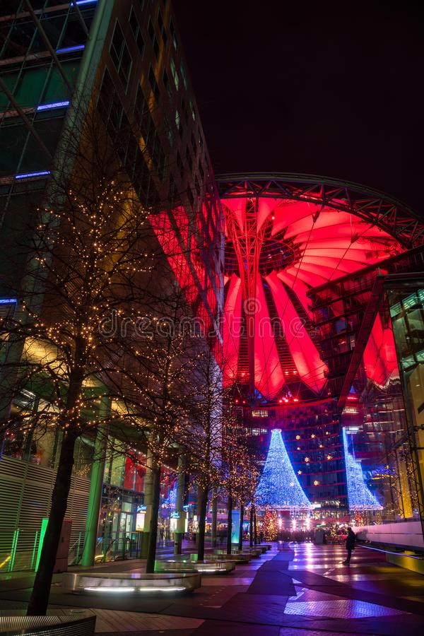 Christmas street light decoration Sony Center Potsdamer Platz Berlin Germany. Berlin, Germany - December 16, 2018: Illuminated roof and Christmas decoration of stock image