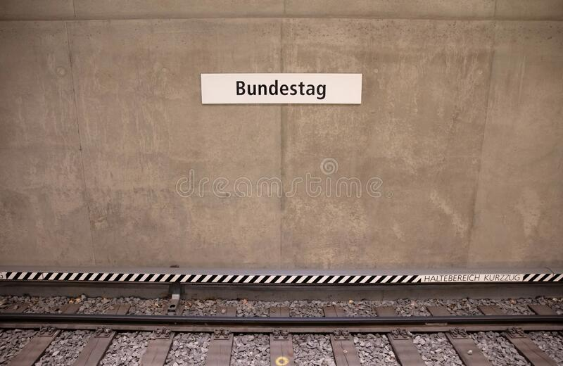 Signage of the Bundestag U-Bahn station. The german U-Bahn is one of the biggest underground royalty free stock image