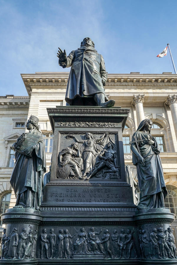 BERLIN, GERMANY/EUROPE - SEPTEMBER 15 : Monument to Baron Freiherr von Stein in front of the Abgeordnetenhaus in Berlin Germany o. N September 15, 2014 royalty free stock image