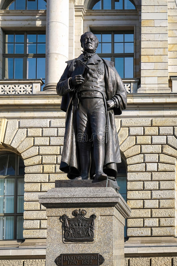 BERLIN, GERMANY/EUROPE - SEPTEMBER 15 : Statue of August Fuerst. Von Hardenberg outside the Berlin State Parliament building in Berlin Germany on September 15 stock photography