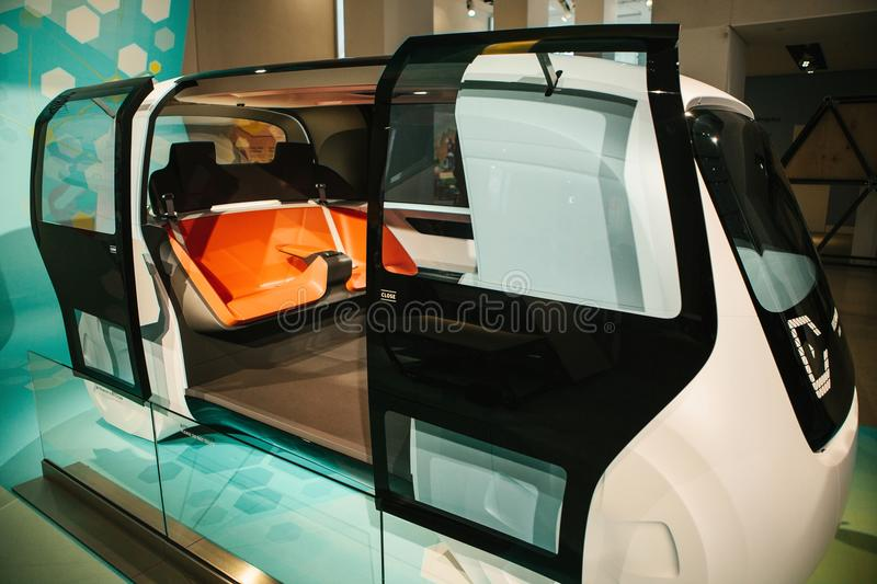 Berlin, Germany 15 February 2018: Auto show Volkswagen group forum. A new concept of driverless car from Volkswagen. The. Name of the car model is Sedric royalty free stock image