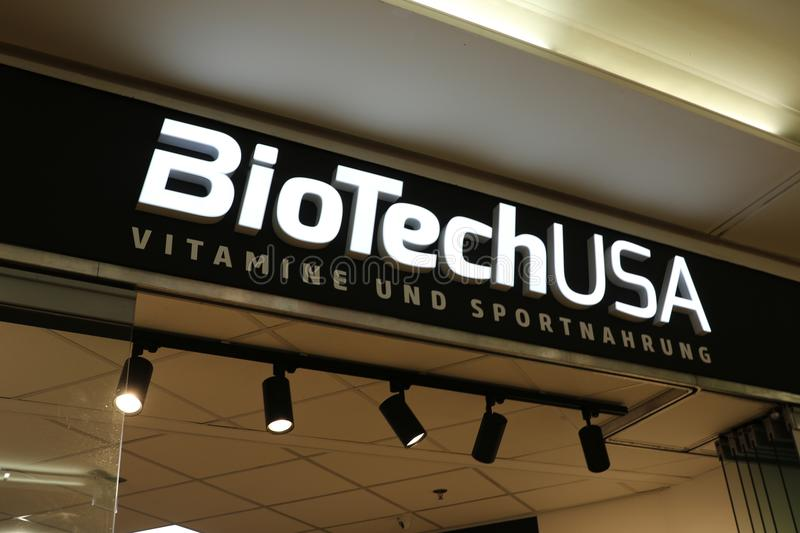 BioTech USA shop. Berlin, Germany - February 22, 2018: BioTech USA store. The company offers nutritional supplements as well as a wide selection of protein royalty free stock photo