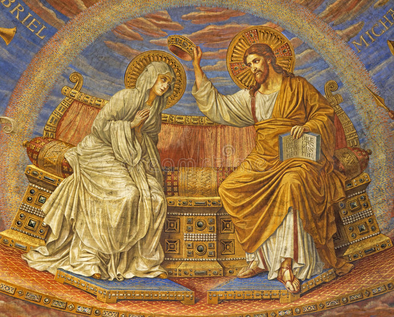 BERLIN, GERMANY, FEBRUARY - 15, 2017: The fresco of Coronation of Virgin Mary in cupola of Rosenkranz Basilica. By Friedrich Stummels, Karl Wenzel, and Theodor stock photos