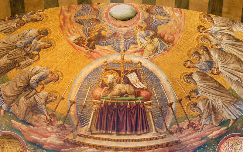 BERLIN, GERMANY, FEBRUARY - 14, 2017: The Fresco of The Lab of God in main apse of Herz Jesus church royalty free stock images