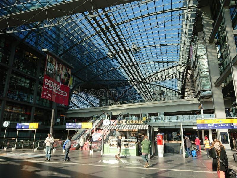 Berlin DB Deutsche Bahn Hauptbahnhof. Berlin, Germany - February 3, 2018: Interior of the DB Deutsche Bahn Hauptbahnhof railway station, , the main railway royalty free stock image