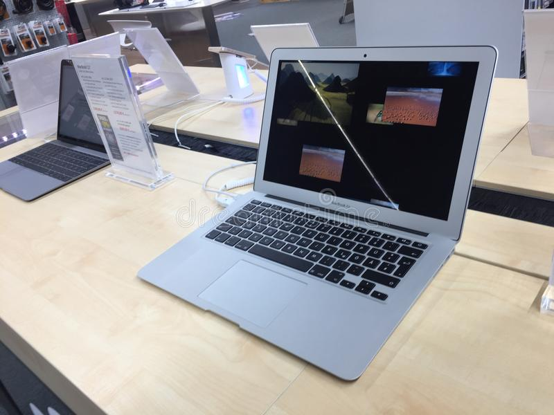 MacBook Air computer laptop for sale. Berlin, Germany - February 7, 2018: MacBook Air computer laptop for sale in store. Apple is an American multinational royalty free stock image