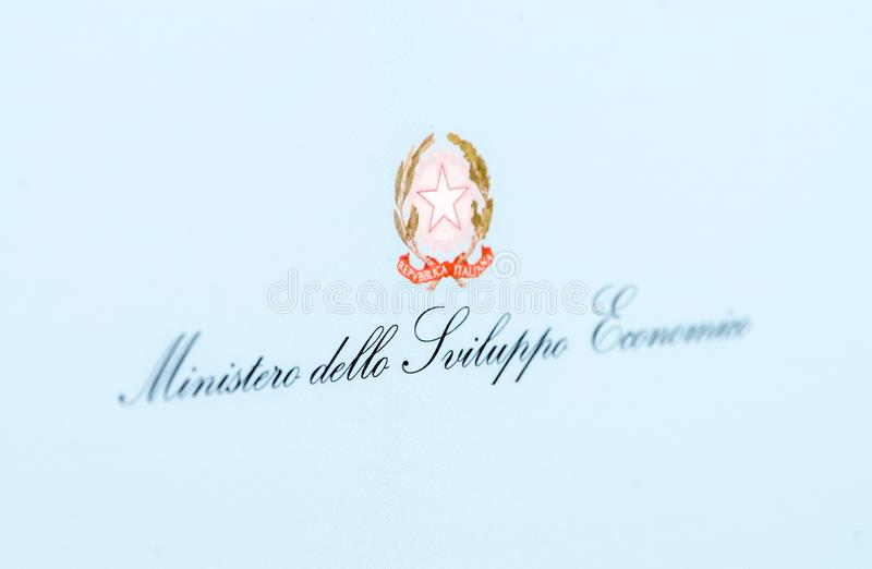 Sign of the Italian Ministry of Economic Development royalty free stock photography
