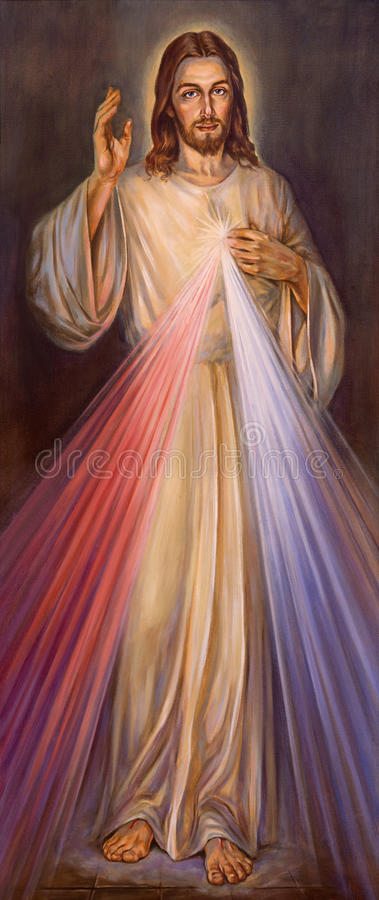 BERLIN, GERMANY, FEBRUARY - 15, 2017: The painting of traditional Divine Mercy of Jesus in St. John the Baptist church stock image