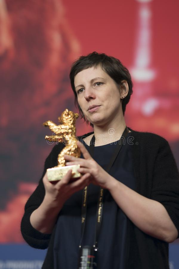 Adina Pintilie, winner of the Golden Bear, at Berlinale 2018. Berlin, Germany - February 24, 2018: Romanian film director Adina Pintilie, winner of the Golden royalty free stock images