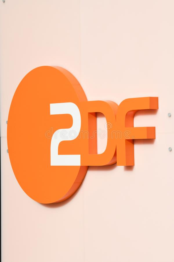 ZDF logo. Berlin, Germany - February 15, 2018: ZDF signboard. Zweites Deutsches Fernsehen English: Second German Television, usually shortened to ZDF, is a stock photo