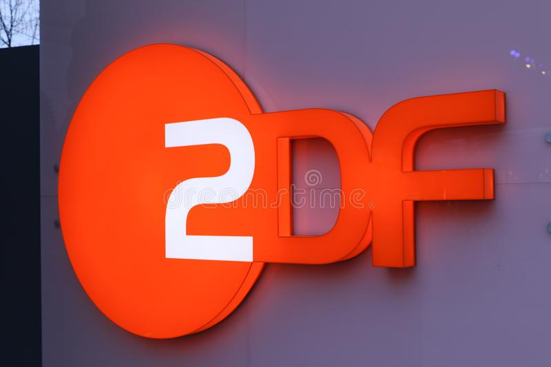 ZDF signage. Berlin, Germany - February 22, 2018: ZDF signboard. Zweites Deutsches Fernsehen English: Second German Television, usually shortened to ZDF, is a stock image