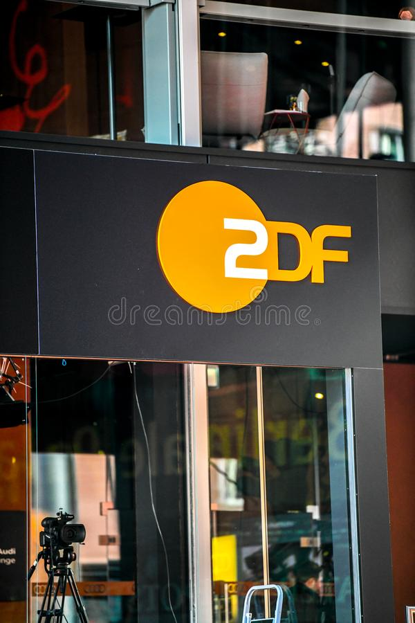 ZDF emblem. Berlin, Germany - February 15, 2018: ZDF symbol. Zweites Deutsches Fernsehen English: Second German Television, usually shortened to ZDF, is a German stock photos