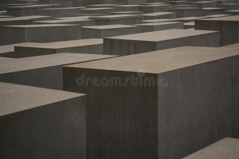14.05.2019. Berlin, Germany. Holocaust monument. View in the field from concrete slabs of the different size and height. City sigh royalty free stock photos