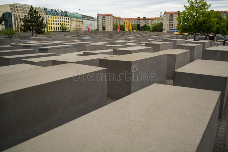 14.05.2019. Berlin, Germany. Holocaust monument. View in the field from concrete slabs of the different size and height. City sigh stock photo