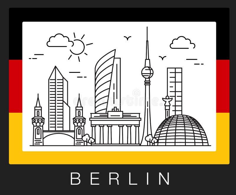 berlin germany Illustration av stadssikt royaltyfria bilder