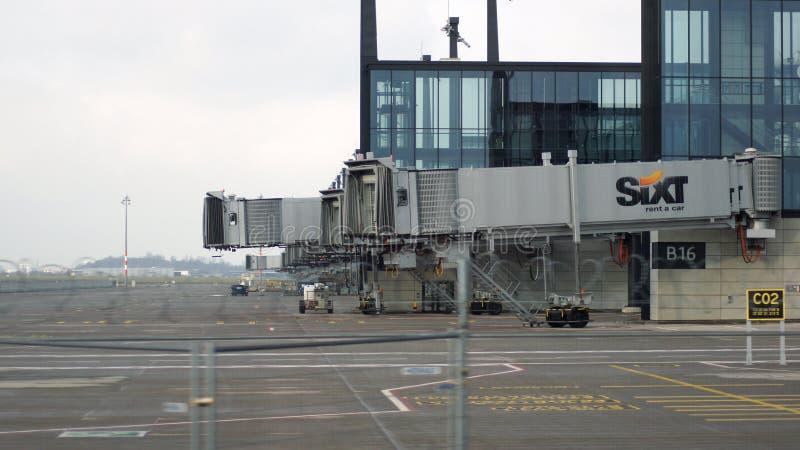 BERLIN, GERMANY - JAN 17th, 2015: Berlin Brandenburg Airport BER, still under construction, empty terminal building and royalty free stock photos