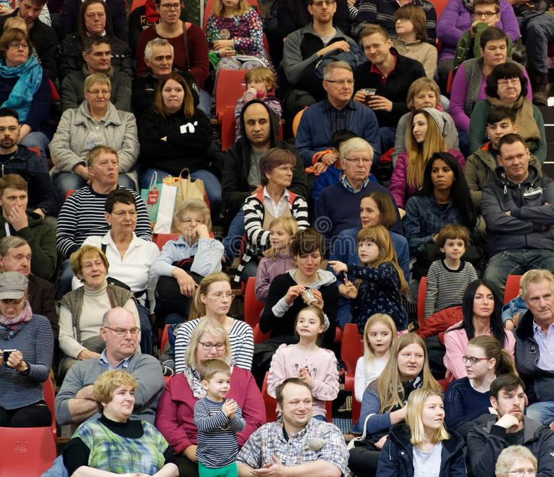 Berlin, Germany, January 21,2018: Audience in a grandstand at an event in a hall, editorial royalty free stock images