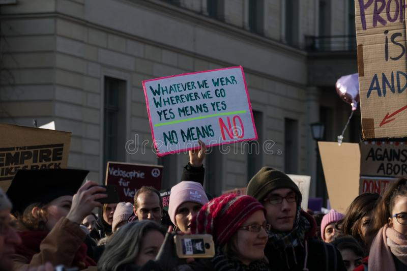 Women are protesting for equal rights at the annual `Women`s March` stock photos