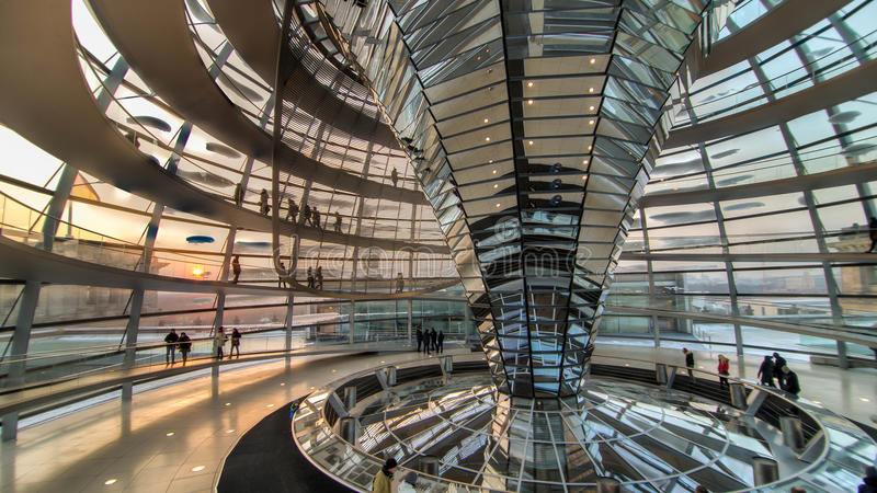 Berlin, Germany - January 26, 2014: Inside the Reichstag Dome, the German Bundestag in Berlin royalty free stock photos