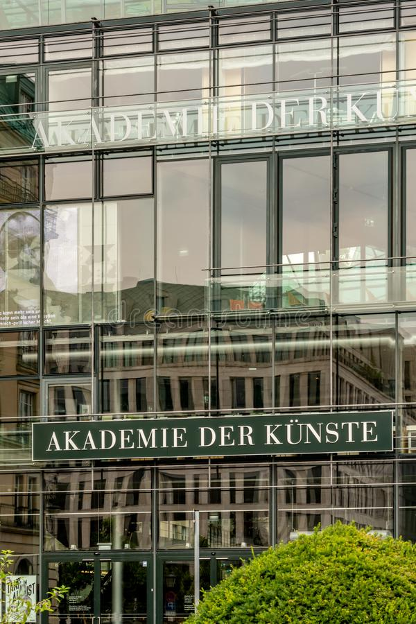 Akademie der Kuenste in Berlin, Germany. Berlin, Germany - July 31, 2019: Akademie der Künste facade. The Academy of Arts is a state arts institution with the royalty free stock photo