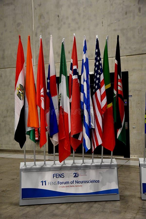11 FENS FORUM OF NEUROSCIENCE CONFEENCE. BERLIN/GERMANY jULY 2018_ .Mr.Vania Brccoli fro Iltay speaking at 11 Fens forum of Neuricience conferenc in 7-11 juy stock image