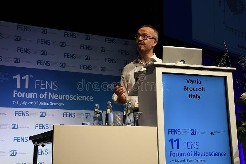 11 FENS FORUM OF NEUROSCIENCE CONFEENCE. BERLIN/GERMANY jULY 2018_ .Mr.Vania Brccoli fro Iltay speaking at 11 Fens forum of Neuricience conferenc in 7-11 juy stock images