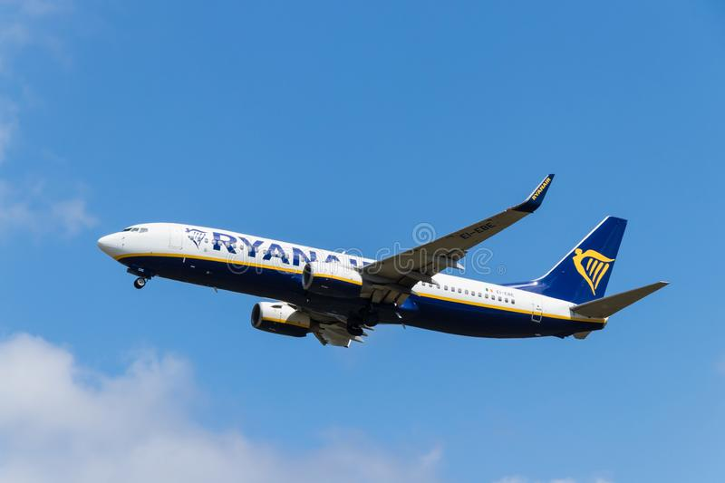 BERLIN, GERMANY - JULY 7, 2018: Ryanair, Boeing 737-8AS takes of stock photography