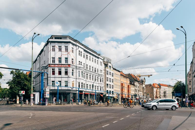 Street view in Scheunenviertel quarter in Berlin Mitte. Berlin, Germany - July 27, 2019: Street view in Rosenthaler Platz in Scheunenviertel, in Berlin Mitte. It stock images