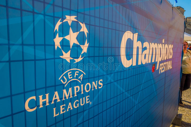 BERLIN, GERMANY - JUNE 06, 2015: Blue big signal with white letters of the final match on Berlin, Champions league 2015.  stock photography