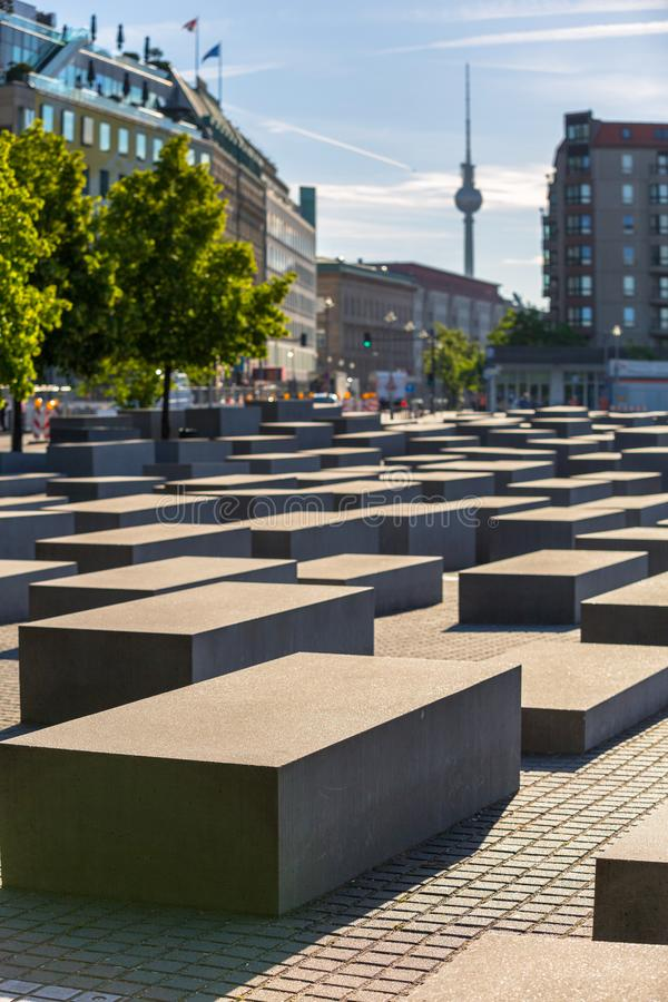 BERLIN, GERMANY - JUNE 15, 2017: The Memorial of the Murdered Jews in Europe also known as the Holocaust Memorial in Berlin royalty free stock images
